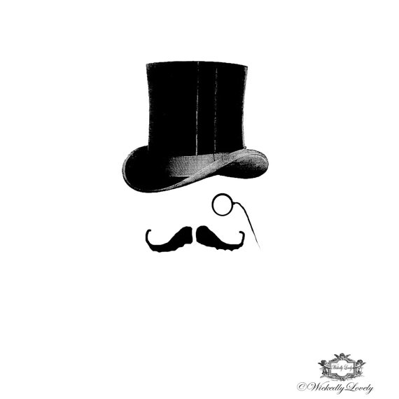 Drawn top hat mustache Hat moustache hat The And