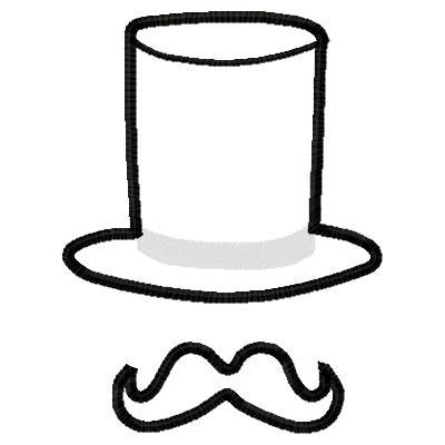 Drawn top hat mustache Mustache Applique Mustache Top Applique