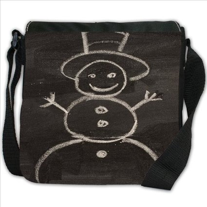 Drawn top hat small Handbag Black Black Snowman Chalk