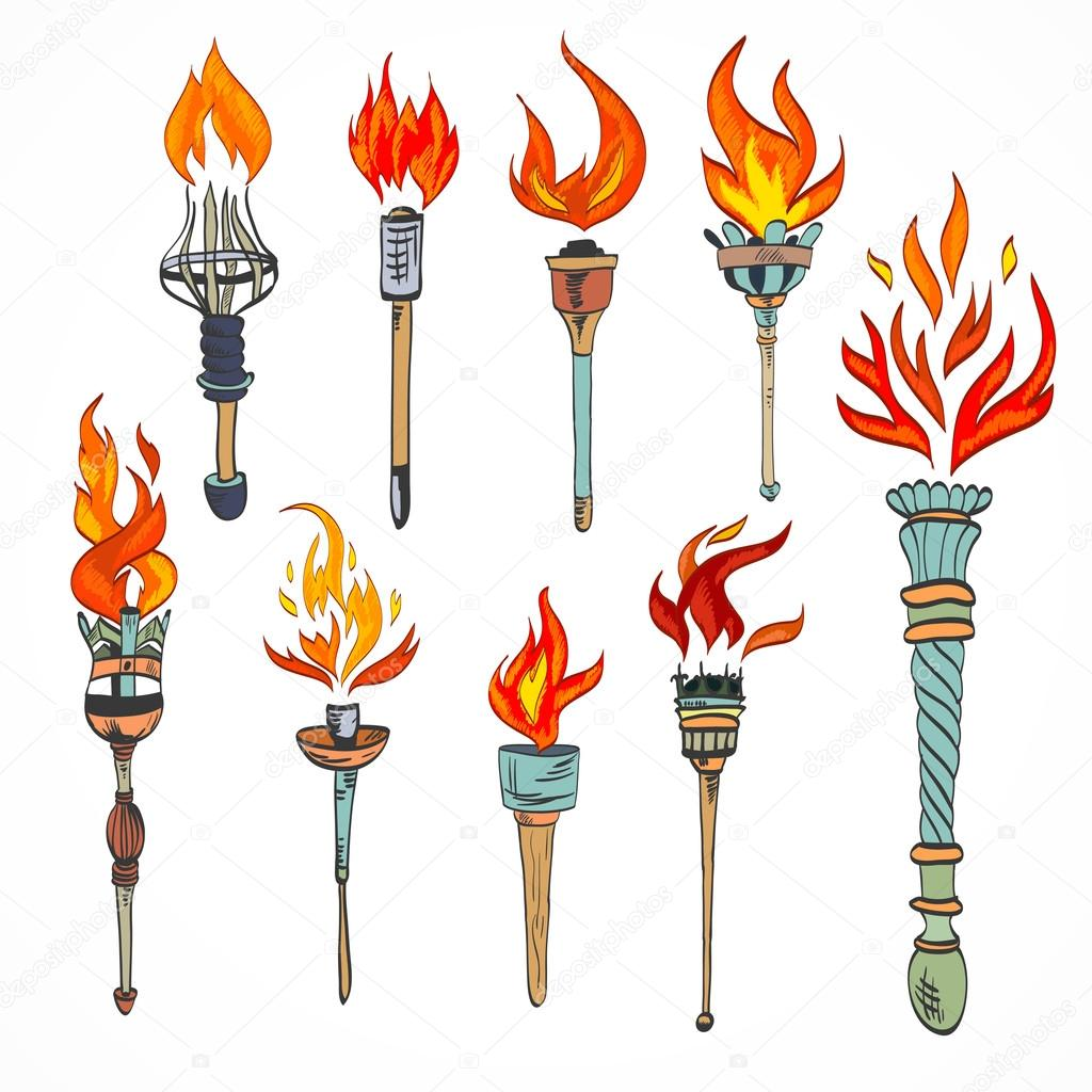 Drawn torch symbol Icon #44997269 Stock Torch Vector