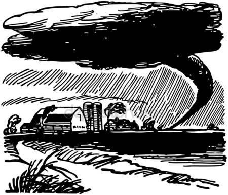 Drawn tornado farm Approaching  Illustrations Vector Tornado