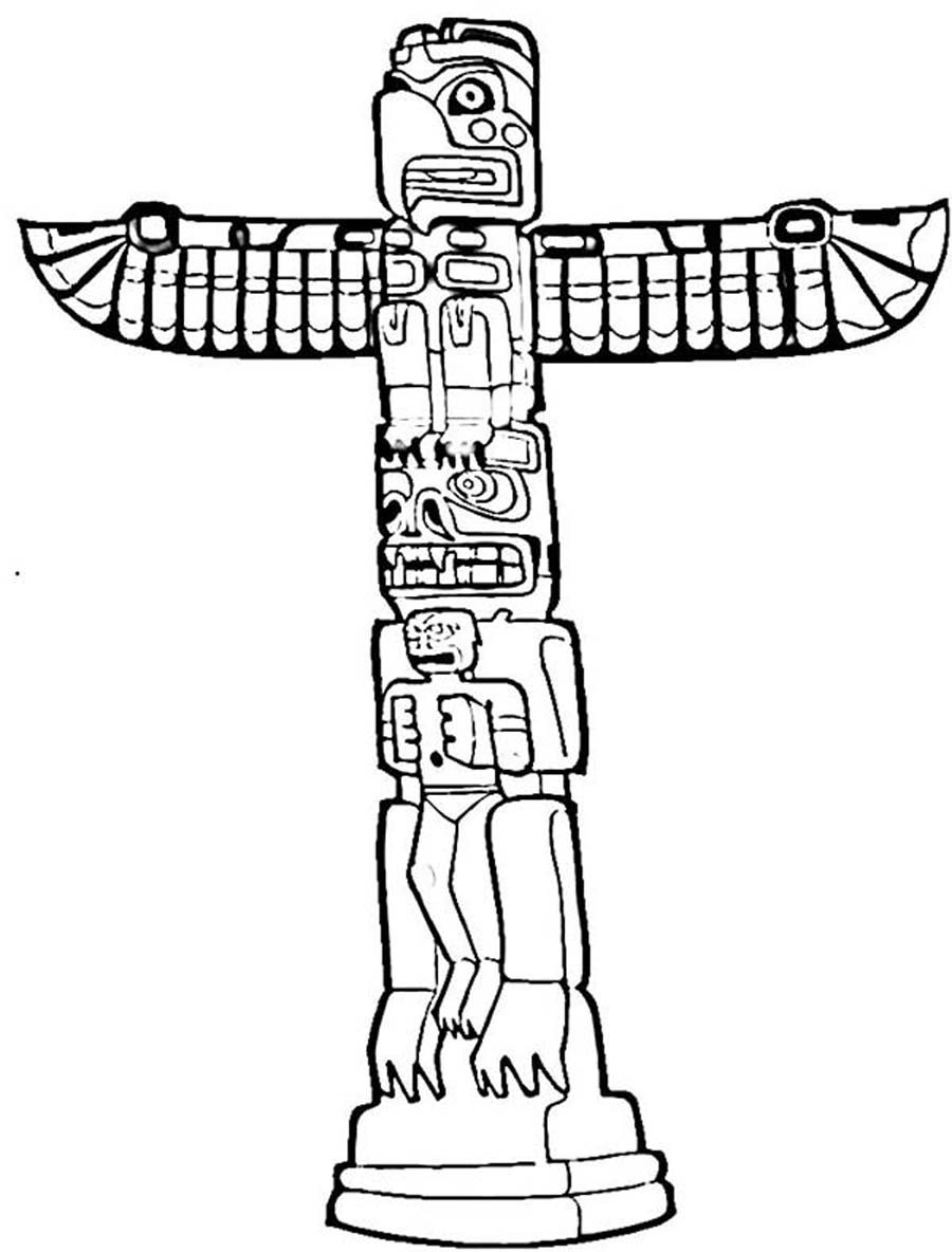 Totem Pole clipart simple Totem  Totem pages Coloring