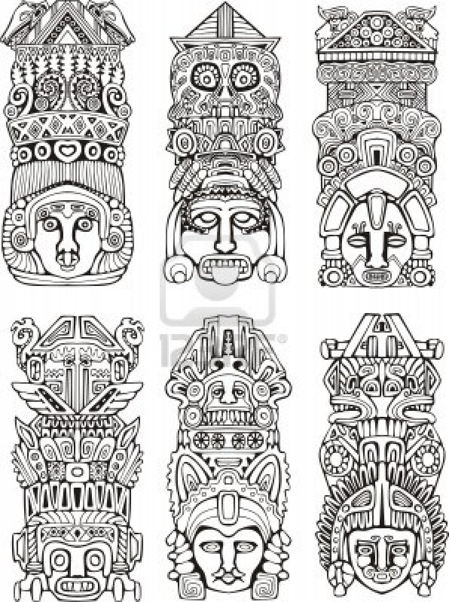 Totem Pole clipart mayan Of and Set mesoamerican illustrations