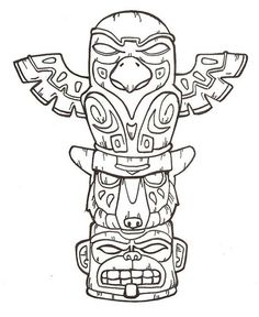 Drawn totem pole canadian Craft and Draw Google Collage