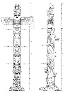 Drawn totem pole canadian Animal meanings totem Bing