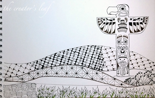 Drawn totem pole canadian The fields a pages Gardens