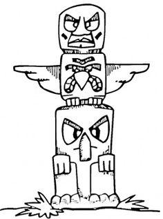 Totem Pole clipart kid Pole coloring stump Totem totem