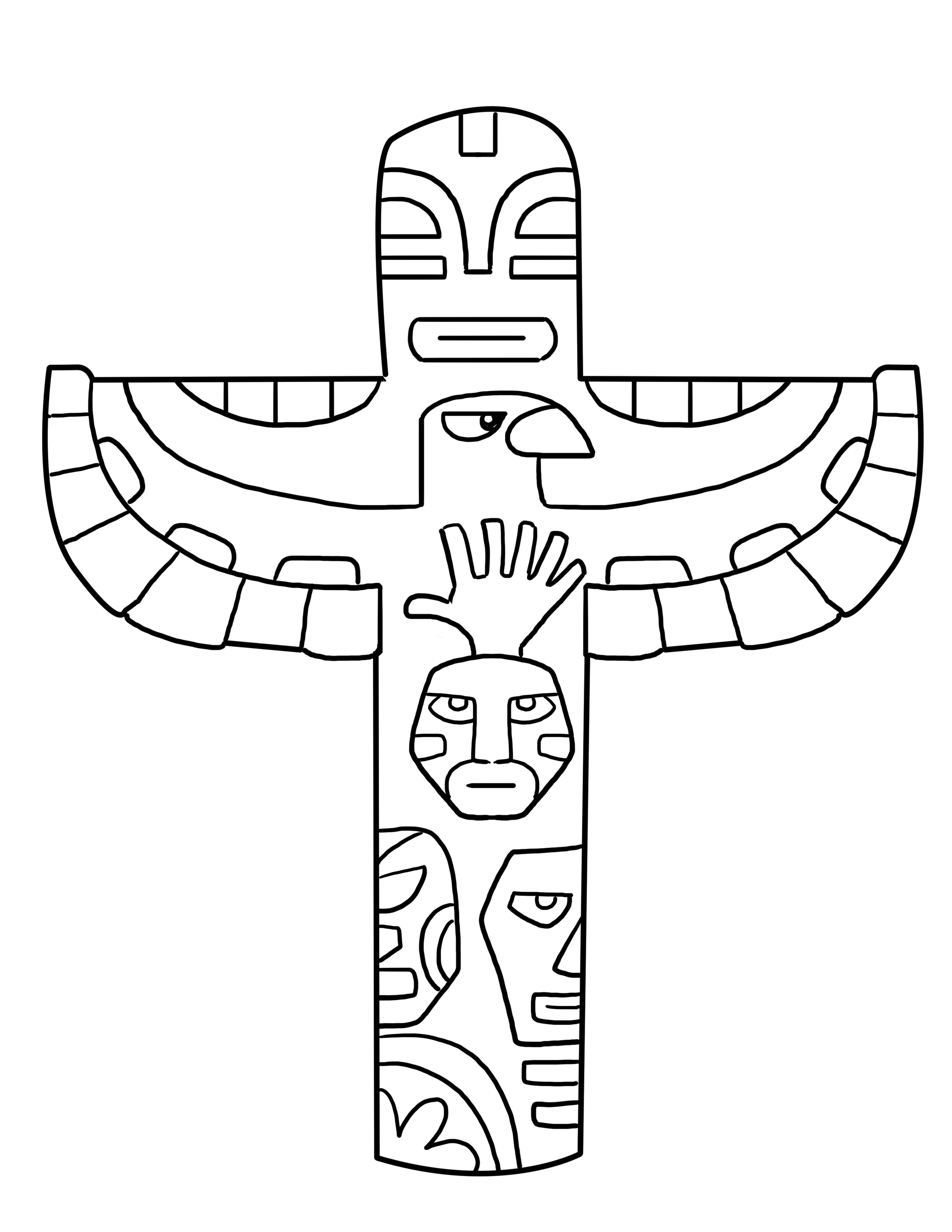 Totem Pole clipart Pages coloring free Totem pole