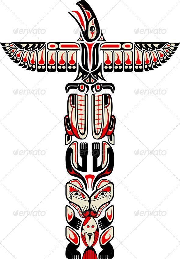 Drawn totem pole eskimo Pinterest on Haida Totem Style