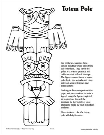 Drawn totem pole eskimo Printable Totem totem pole art