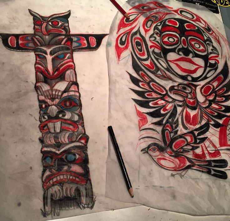 Drawn totem pole eskimo Coastal inuit/indian/eskimo Art 427 images