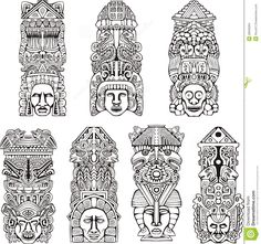 Drawn totem pole eskimo Coloring vector Pages Totem white