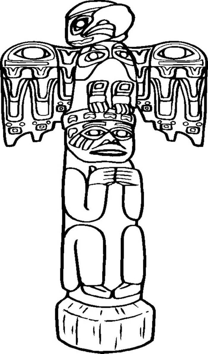 Drawn totem pole funny Kids Coloring Page Printable Pages