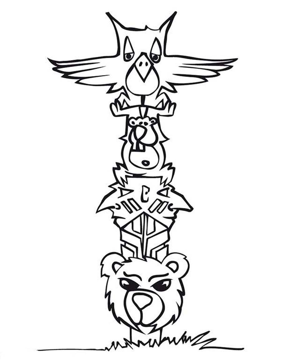 Drawn totem pole funny Coloring coloring Templates coloring pole