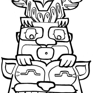 Drawn totem pole funny Animal Day Totem Page with