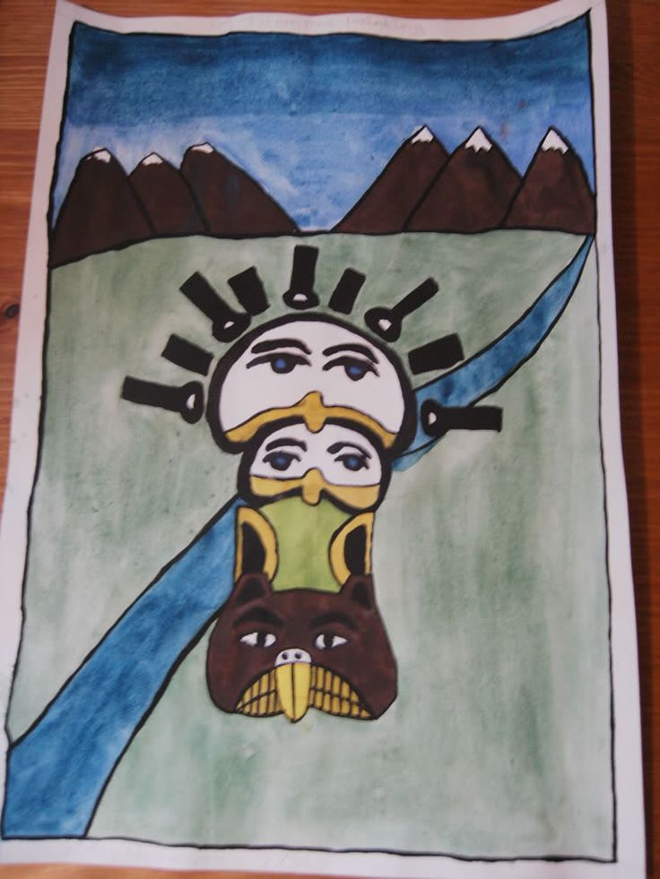 Drawn totem pole gorilla About A6 on Totem images