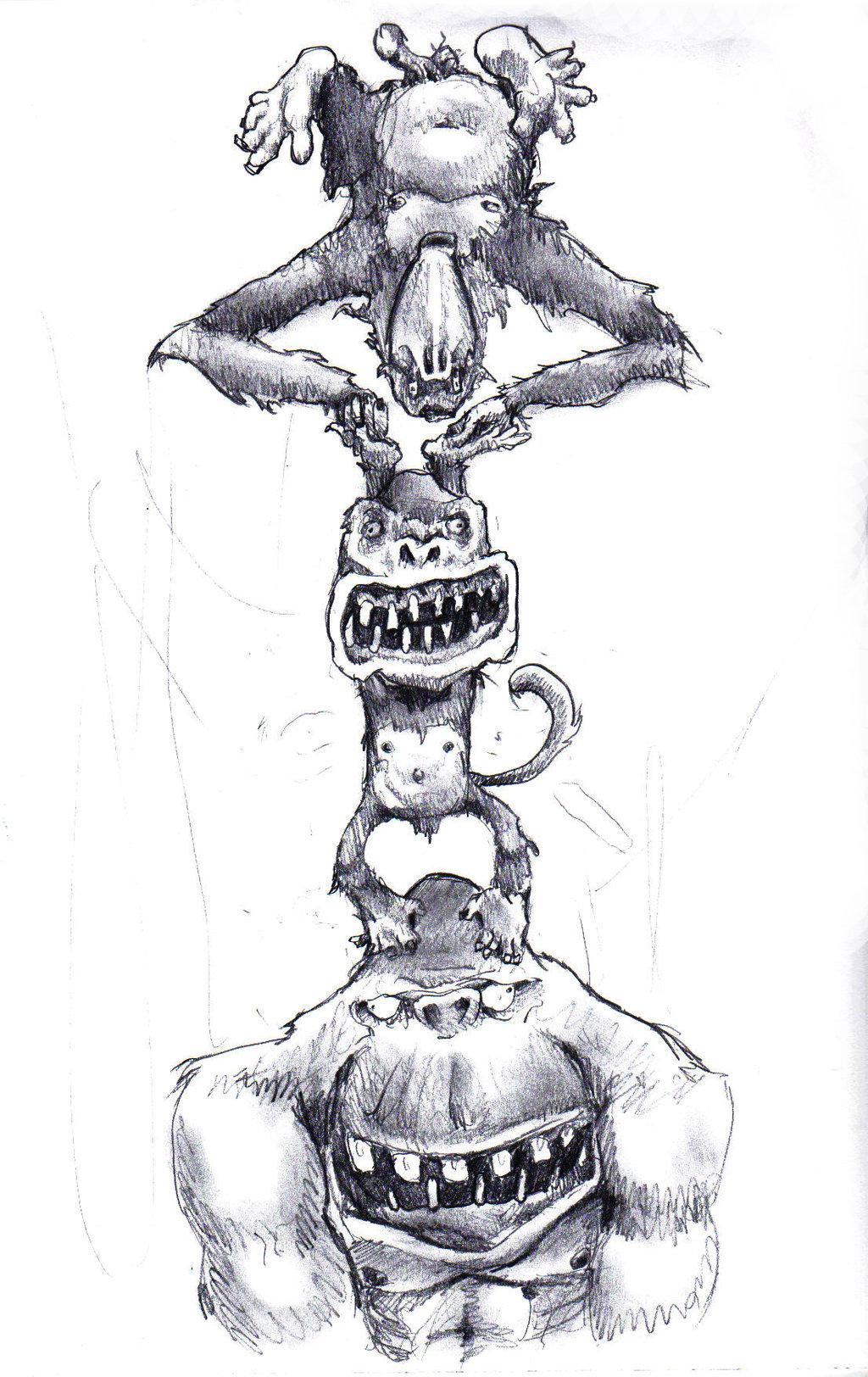 Drawn totem pole gorilla Totempole Tower DeviantArt on Tommyfromvienna