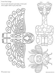 Drawn totem pole hawk Animals Totems pole raven and