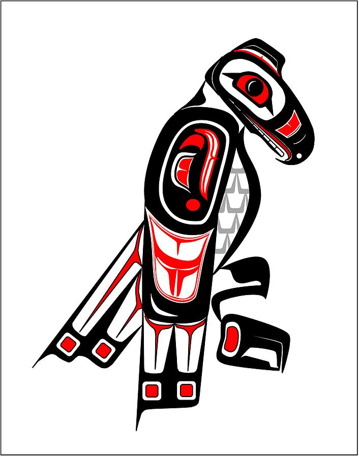 Drawn totem pole hawk Totem Hawk Drawing Hawk Totem