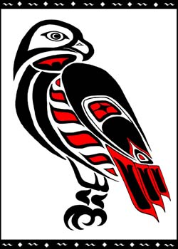 Drawn totem pole hawk More Totem Red tailed …