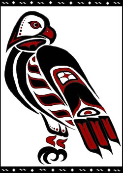 Drawn totem pole hawk American totem Eagle Totem eagle
