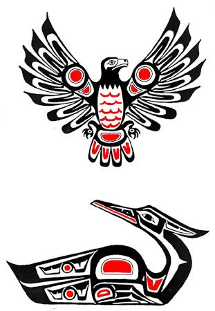 Drawn totem pole hawk Eagle tattoos Symbol Design ideas