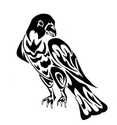 Drawn totem pole hawk Tribal Viewing hawk tattoo Pinterest