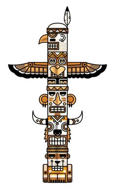 Totem Pole clipart chinook Page coloring adult  Totem