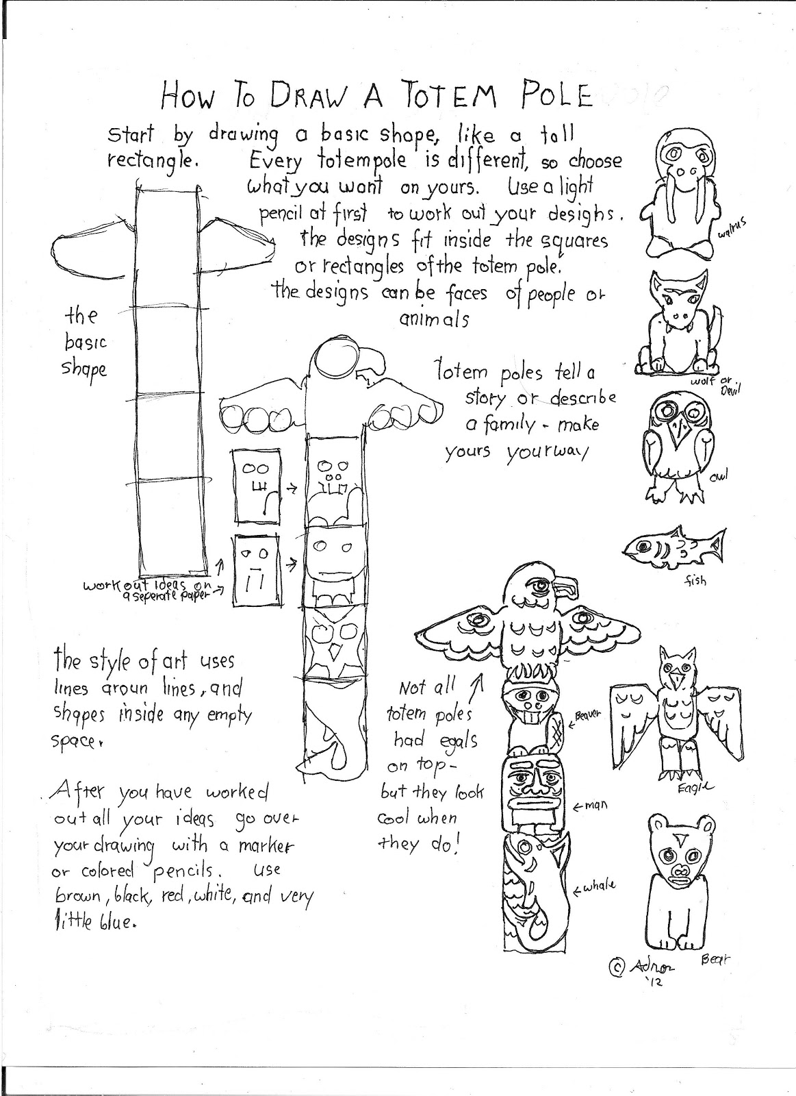 Drawn totem pole north american To a worksheet draw pole