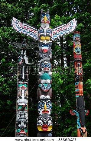 Drawn totem pole north american 1: States History American 4th