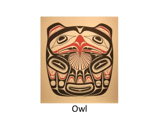 Drawn totem pole northwest Pole and Raven Moon; 14