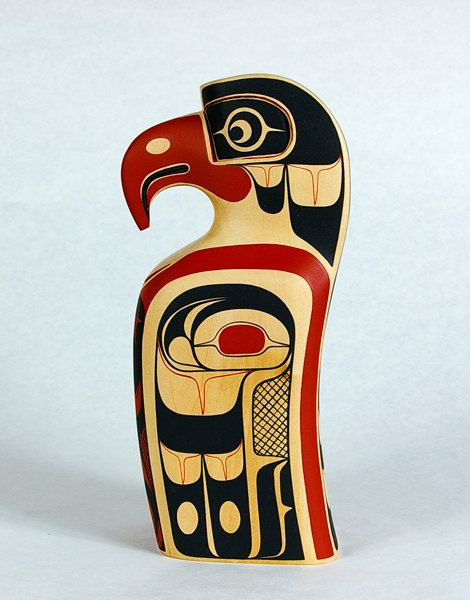 Drawn totem pole northwest Coast Eagle Miniature Totem on