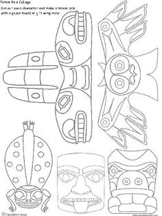 Drawn totem pole northwest A 25 Mar How Collage