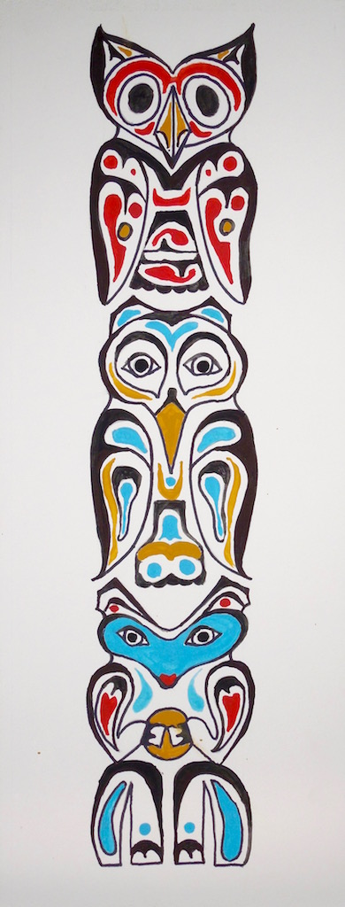 Drawn totem pole northwest Classes: Finished A Art Lessons
