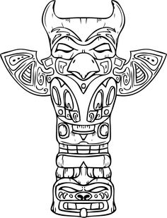 Drawn totem pole northwest Pole Pole Totem Coloring tattoo