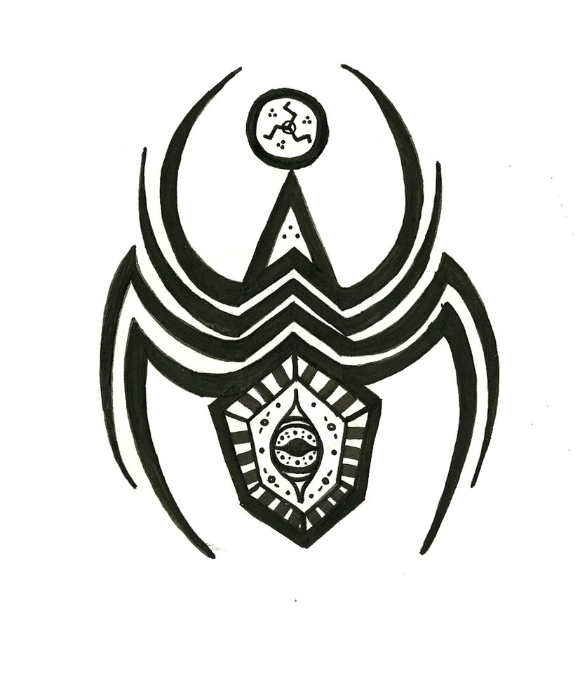 Drawn totem pole spider Tats: (decorated example) Spider by