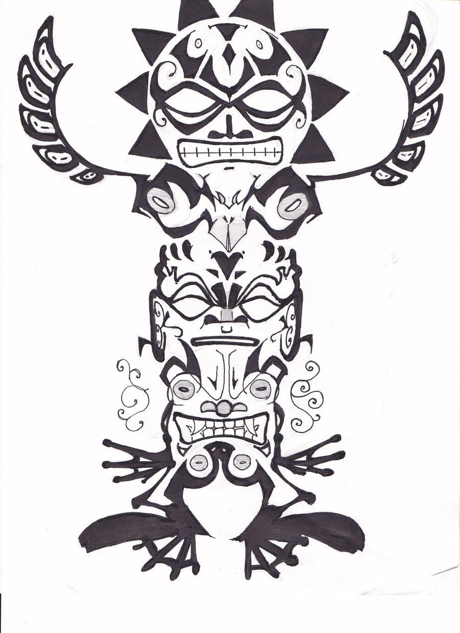 Drawn totem pole spider Tattoo art allua808 art DeviantArt