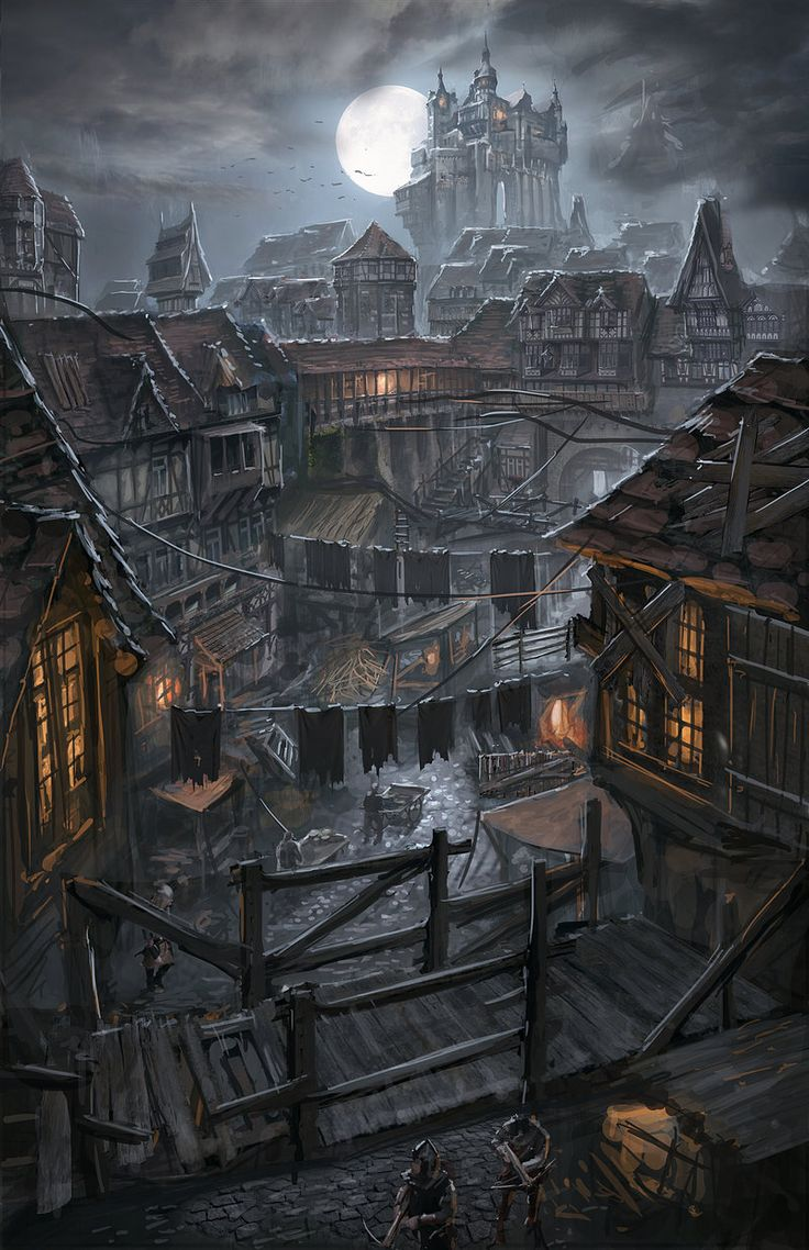 Drawn town Fantasy with the all very