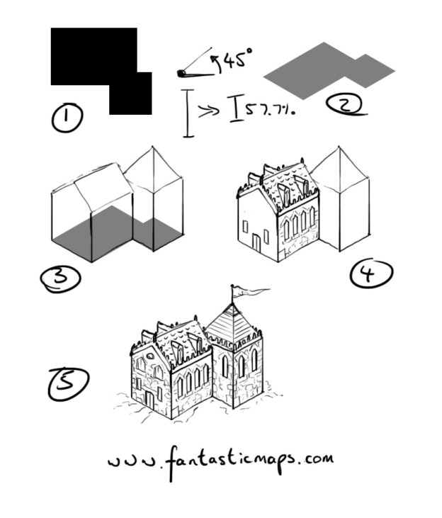 Drawn town Isometric City house to Maps