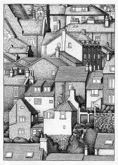Drawn town Custom Ink Black drawing