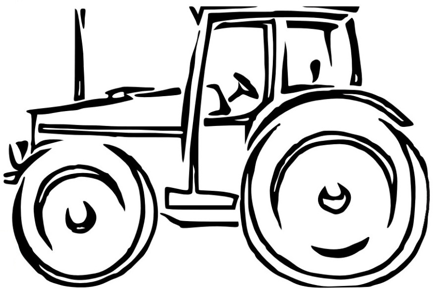 Tractor clipart line drawing #5
