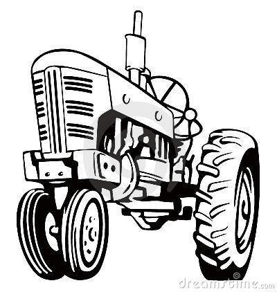 Tractor clipart black and white #1