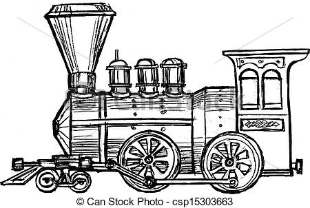 Engine clipart steam train Vintage sketch  steam vintage