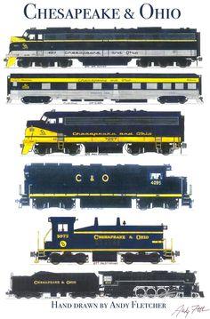Drawn train technical drawing By Burlington Northern locomotive Chesapeake