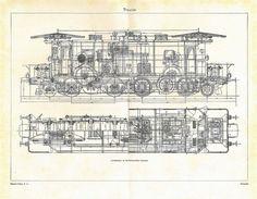 Drawn train technical drawing  of an Railways Drawing