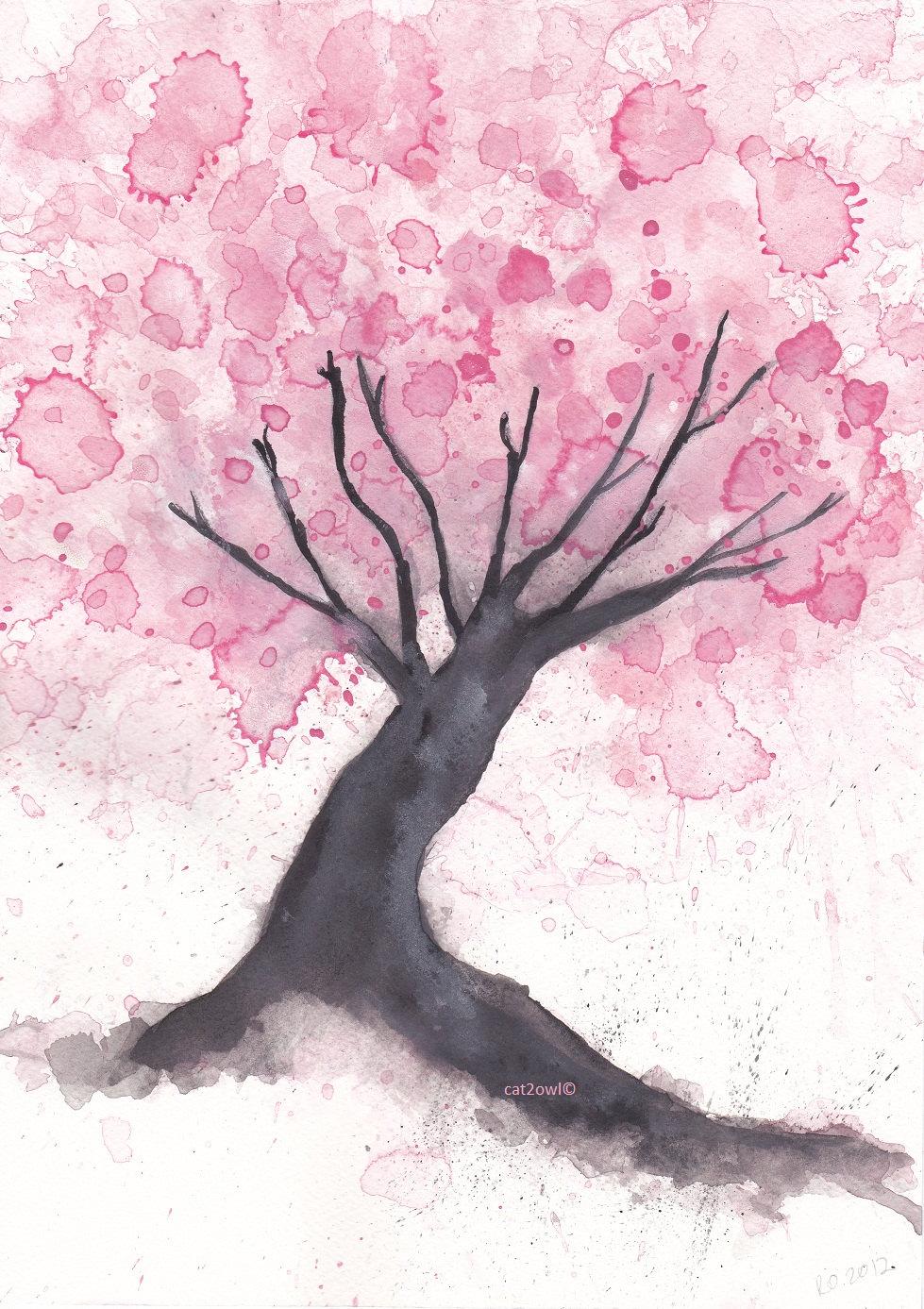Drawn sakura blossom flowering tree Cherry > For For Drawing