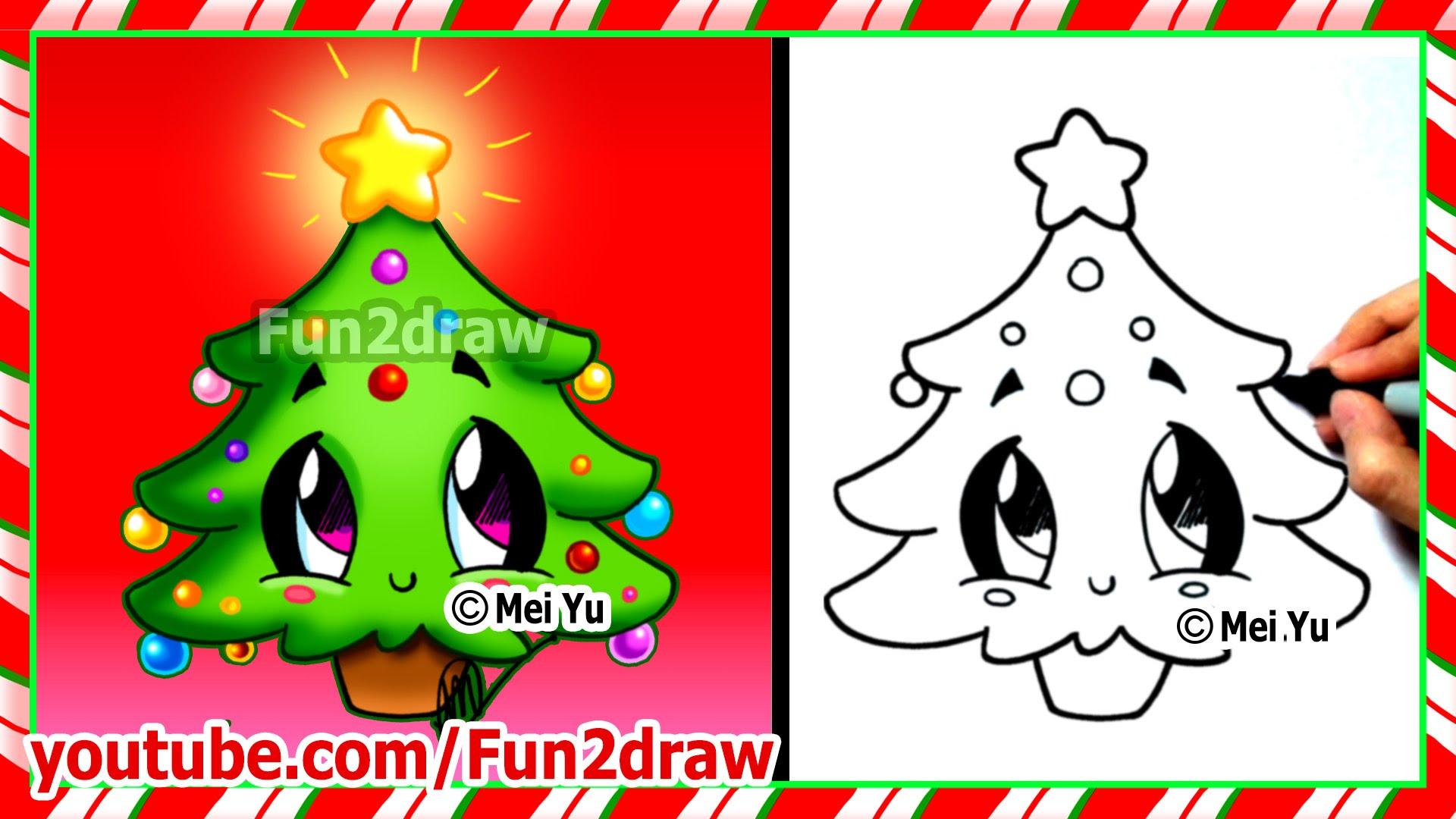 Drawn santa christmas tree Christmas Cute Stuff Videos Fun2draw