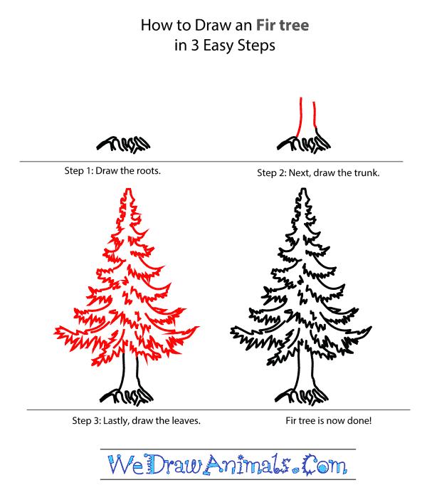 Drawn pine tree step by step Tree Tutorial How a Step
