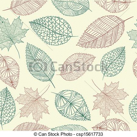Drawn leaves pattern With  Autumn file Hand