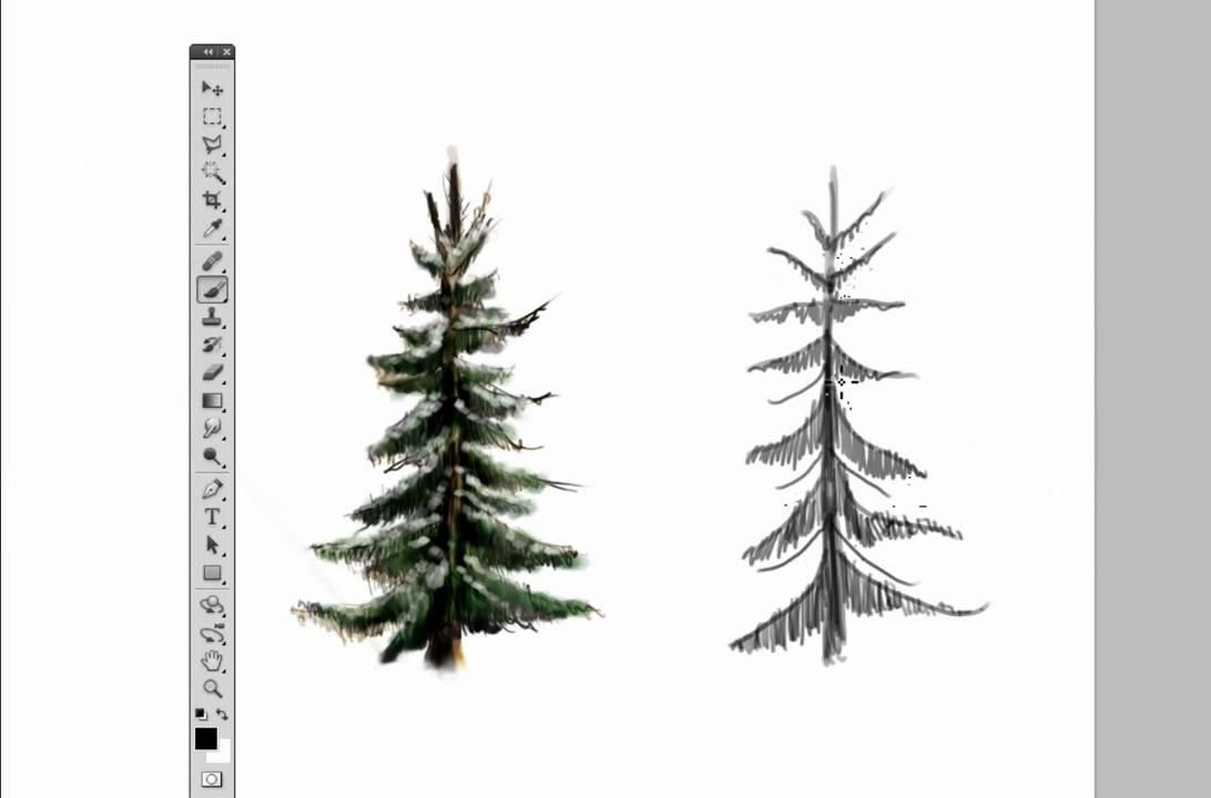 Drawn fir tree easy Draw Draw Photoshop a Photoshop